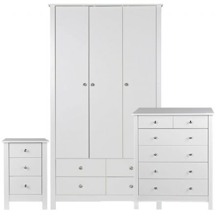 Florence 3 Door 4 Drawer wardrobe with mirror in White